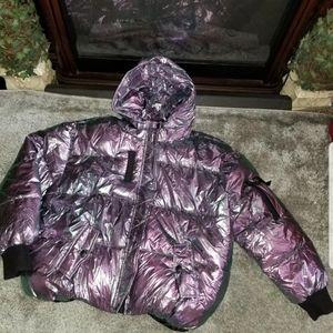 Metallic puffer coat 1X